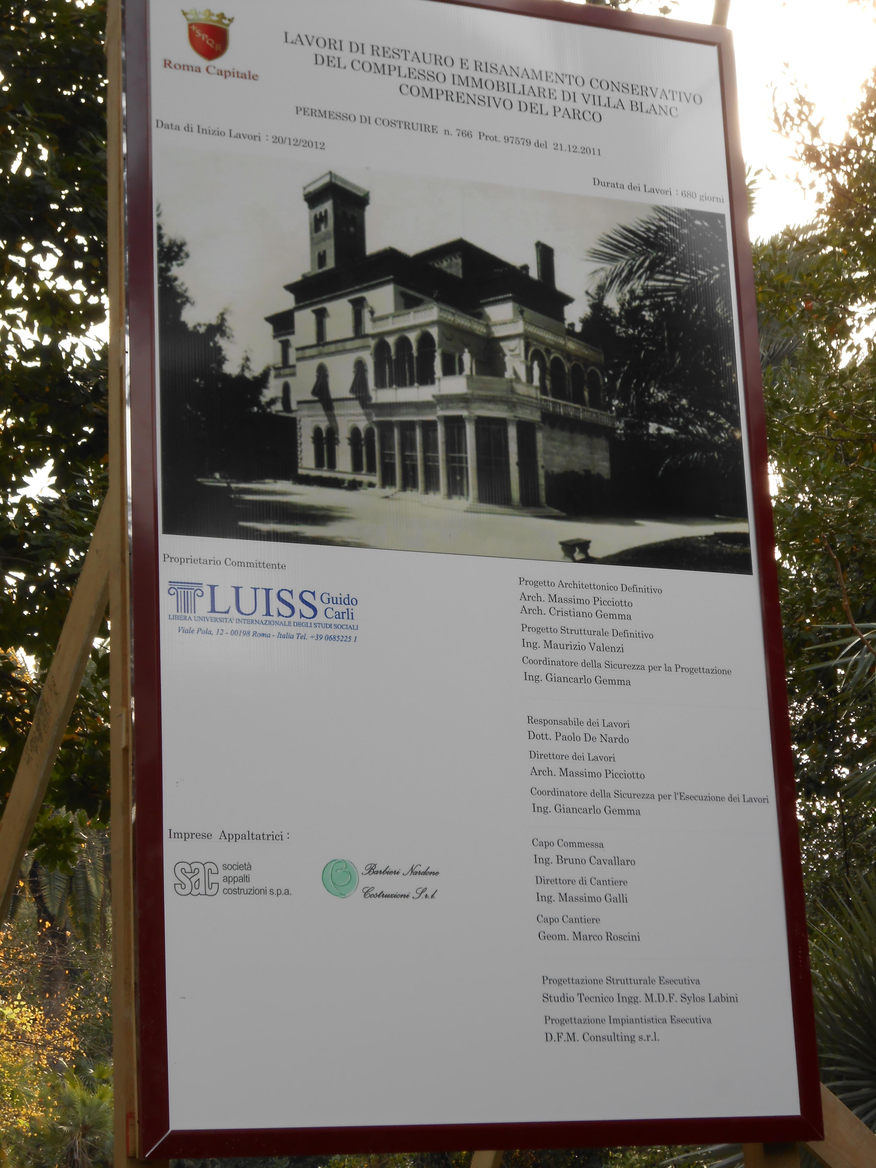 Villa Blanc Roma Storia